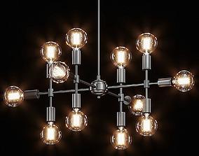 Enzo 12 Light Matte Gray Pendant 3D model