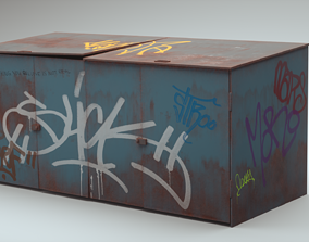 3D model PBR Trash container
