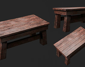 3D model game-ready bench Wooden Table