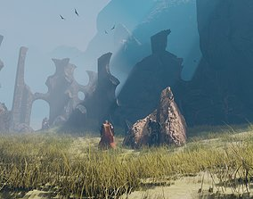 3D model medieval ruins damaged castles blender scene