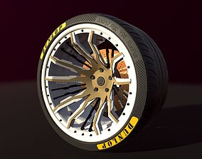 Wheel for supercars with Dunlop tire 3D model