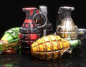 MK2 Grenade - Game ready - Low poly with 6 PBR 3D asset 1
