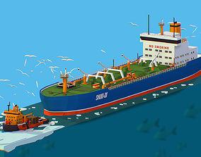 3D asset Isometric Boat breaking Ice Oil Tanker Icebreaker