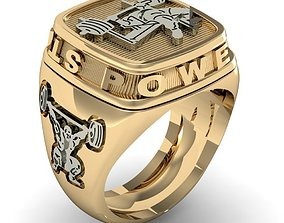 signet ring for men power strength gym 3D print model