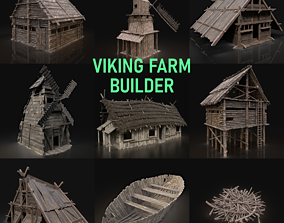 3D Viking Farm Settlement Builder Village House Cottage 1