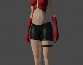 3D asset female character for game