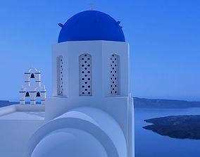 3D Santorini white church