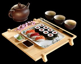 3D model Sushi Maki Japanese food set