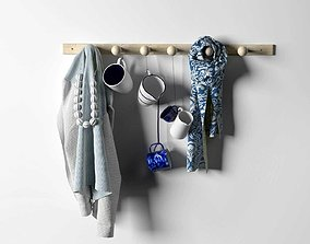 Blue Fabrics and Cups Composition on Rack 3D model