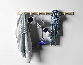 3D model Blue Fabrics and Cups Composition on Rack