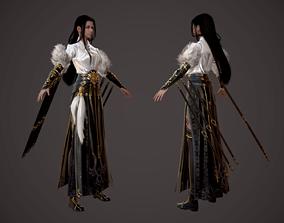 Chinese beauty Woman Female pretty girl laddy 3D asset 3