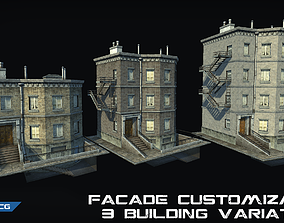 Customizable city building Low-poly 3D model realtime