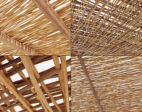 Ceiling wood thin branch beam n1 3D model