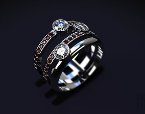 fashion ring with precious stones 3D print model