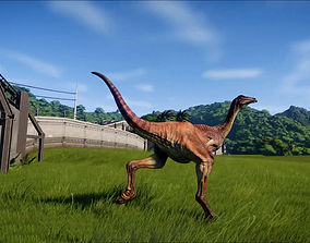 animated Gallimimus 3D VR AR low-poly 3D model