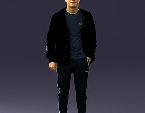 3D model Man in a black tracksuit 0274
