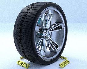 3D model ORTAS CAR RIM 24 GAME READY RIM TIRE AND DISC
