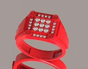 Signet ring with screws 3D print model