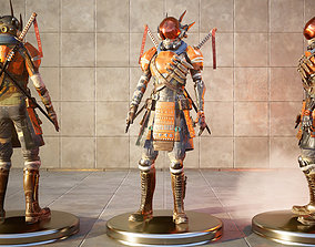 rigged Sci-fi Samurai Ninja 3D CG model rigged character