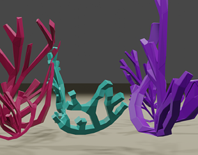 Lowpoly colorfull coral 3D asset