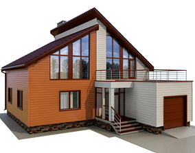 3D model Cottage with siding