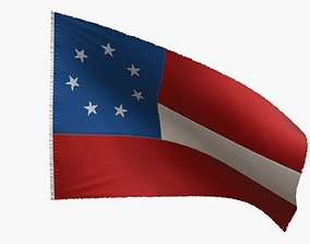 3D asset US Flag 1st National Confederate