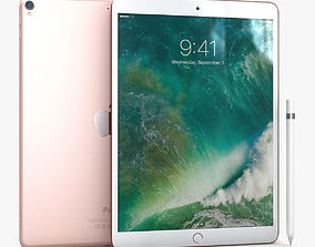 iPad Pro 10-5 2017 Rose Gold with Pencil 3D model