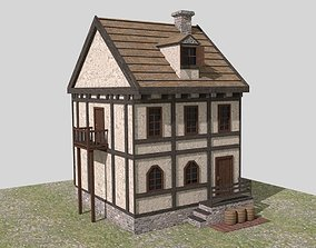 Medieval House Low Poly 3D asset