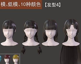 The girl hair Restoring ancient ways ponytail 3D model 2