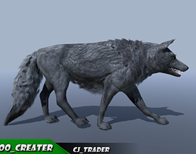 Low-Poly Black Wolf Rigged-Animated 3D animated
