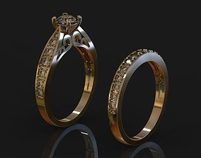 gold Gold ring with diamonds 3D print model