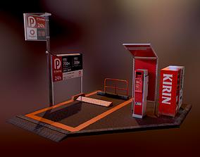 Japanese Parking Lot SET - PBR Game Ready 3D asset