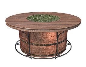 Barrel table 3D model metal