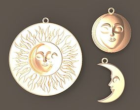 SUN N MOON - PENDANT and EARRINGS 3D print model