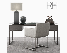 3D model RH Latour desk set with emery track armchair and