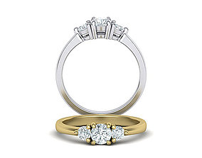 Three Stone Diamond ring printable 3dmodel N10344 3D 1