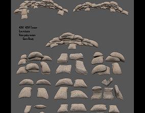sandbag set 3D asset