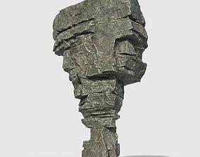 3D asset Low poly Beach Cliff Rock 06
