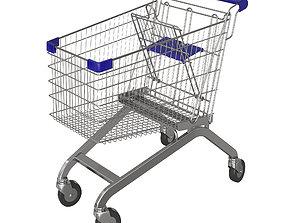 Blue shopping cart 3D