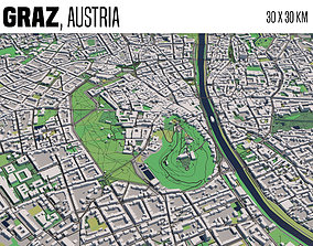 cityscape 3D model Graz Austria