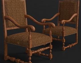 French Burlap Armchair - Restoration Hardware 3D