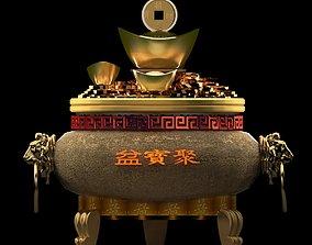 chinese gold ingot 3D model ancient