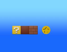 Super Mario blocks and coin 3D asset