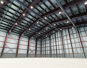 game-ready Airplane Hangar Interior 3D Model