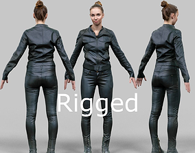 3D model Girl in shiny black outfit Rigged