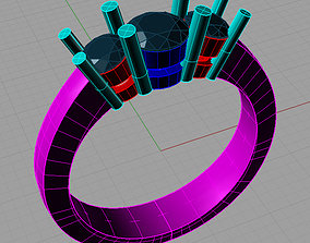3D print model Diamond Trilogy Engagement Ring Anello 3