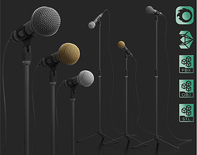 Concert microphone with stand 3D model rigged