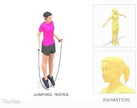 Jumping Ropes Exercise Woman Animation 3D model