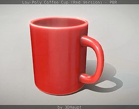 3D asset Coffee Cup Red Version - Gameready - PBR