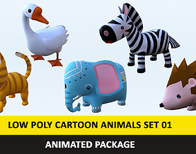 Cartoon Cute Animals Low Poly Pack - 01 AR VR 3D asset 1